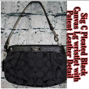 Coach Sig C Pleated Canvas & Pat leather wristlet